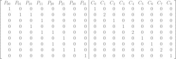 \left[\begin{array}{rrrrrrrr|rrrrrrrrr} P_{00} & P_{01} & P_{10} & P_{11} & P_{20} & P_{21} & P_{30} & P_{31} & C_0 & C_1 & C_2 & C_3 & C_4 & C_5 & C_6 & C_7 & C_8\ 1 & 0 & 0 & 0 & 0 & 0 & 0 & 0 & 1 & 0 & 0 & 0 & 0 & 0 & 0 & 0 & 0\ 0 & 1 & 1 & 0 & 0 & 0 & 0 & 0 & 0 & 2 & 0 & 0 & 0 & 0 & 0 & 0 & 0\ 0 & 0 & 0 & 1 & 0 & 0 & 0 & 0 & 0 & 0 & 1 & 0 & 0 & 0 & 0 & 0 & 0 \ 0 & 0 & 1 & 0 & 0 & 0 & 0 & 0 & 0 & 0 & 0 & 1 & 0 & 0 & 0 & 0 & 0 \ 0 & 0 & 0 & 1 & 1 & 0 & 0 & 0 & 0 & 0 & 0 & 0 & 2 & 0 & 0 & 0 & 0 \ 0 & 0 & 0 & 0 & 0 & 1 & 0 & 0 & 0 & 0 & 0 & 0 & 0 & 1 & 0 & 0 & 0 \ 0 & 0 & 0 & 0 & 1 & 0 & 0 & 0 & 0 & 0 & 0 & 0 & 0 & 0 & 1 & 0 & 0 \ 0 & 0 & 0 & 0 & 0 & 1 & 1 & 0 & 0 & 0 & 0 & 0 & 0 & 0 & 0 & 2 & 0 \ 0 & 0 & 0 & 0 & 0 & 0 & 0 & 1 & 0 & 0 & 0 & 0 & 0 & 0 & 0 & 0 & 1 \ \end{array}\right]