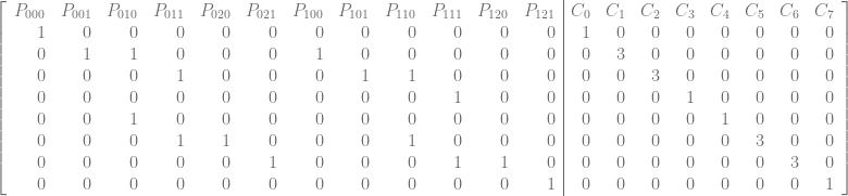 \left[\begin{array}{rrrrrrrrrrrr|rrrrrrrr} P_{000} & P_{001} & P_{010} & P_{011} & P_{020} & P_{021} & P_{100} & P_{101} & P_{110} & P_{111} & P_{120} & P_{121} & C_{0} & C_{1} & C_{2} & C_{3} & C_{4} & C_{5} & C_{6} & C_{7} \ 1 & 0 & 0 & 0 & 0 & 0 & 0 & 0 & 0 & 0 & 0 & 0 & 1 & 0 & 0 & 0 & 0 & 0 & 0 & 0 \ 0 & 1 & 1 & 0 & 0 & 0 & 1 & 0 & 0 & 0 & 0 & 0 & 0 & 3 & 0 & 0 & 0 & 0 & 0 & 0 \ 0 & 0 & 0 & 1 & 0 & 0 & 0 & 1 & 1 & 0 & 0 & 0 & 0 & 0 & 3 & 0 & 0 & 0 & 0 & 0 \ 0 & 0 & 0 & 0 & 0 & 0 & 0 & 0 & 0 & 1 & 0 & 0 & 0 & 0 & 0 & 1 & 0 & 0 & 0 & 0 \ 0 & 0 & 1 & 0 & 0 & 0 & 0 & 0 & 0 & 0 & 0 & 0 & 0 & 0 & 0 & 0 & 1 & 0 & 0 & 0 \ 0 & 0 & 0 & 1 & 1 & 0 & 0 & 0 & 1 & 0 & 0 & 0 & 0 & 0 & 0 & 0 & 0 & 3 & 0 & 0 \ 0 & 0 & 0 & 0 & 0 & 1 & 0 & 0 & 0 & 1 & 1 & 0 & 0 & 0 & 0 & 0 & 0 & 0 & 3 & 0 \ 0 & 0 & 0 & 0 & 0 & 0 & 0 & 0 & 0 & 0 & 0 & 1 & 0 & 0 & 0 & 0 & 0 & 0 & 0 & 1 \ \end{array}\right]