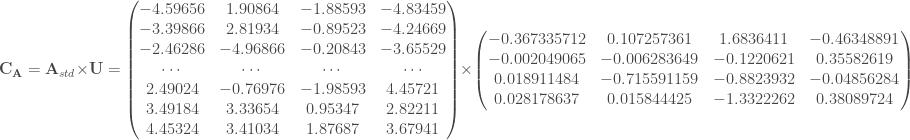\mathbf{C_{A}} = \mathbf{A}_{std} \times \mathbf{U} = \begin{pmatrix} -4.59656 & 1.90864 & -1.88593 & -4.83459 \\ -3.39866 & 2.81934 & -0.89523 & -4.24669 \\ -2.46286 & -4.96866 & -0.20843 & -3.65529 \\ \cdots & \cdots & \cdots & \cdots \\ 2.49024 & -0.76976 & -1.98593 & 4.45721 \\ 3.49184 & 3.33654 & 0.95347 & 2.82211 \\ 4.45324 & 3.41034 & 1.87687 & 3.67941 \\ \end{pmatrix} \times \begin{pmatrix} -0.367335712 & 0.107257361 & 1.6836411 & -0.46348891 \\ -0.002049065 & -0.006283649 & -0.1220621 & 0.35582619 \\ 0.018911484 & -0.715591159 & -0.8823932 & -0.04856284 \\ 0.028178637 & 0.015844425 & -1.3322262 & 0.38089724 \\ \end{pmatrix}