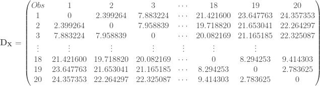 \mathbf{D_X} = \begin{pmatrix} Obs & 1 & 2 & 3 & \cdots & 18 & 19 & 20 \\ 1 & 0 & 2.399264 & 7.883224 & \cdots & 21.421600 & 23.647763 & 24.357353 \\ 2 & 2.399264 & 0 & 7.958839 & \cdots & 19.718820 & 21.653041 & 22.264297 \\ 3 & 7.883224 & 7.958839 & 0 & \cdots & 20.082169 & 21.165185 & 22.325087 \\ \vdots & \vdots & \vdots & \vdots & \vdots & \vdots & \vdots \\ 18 & 21.421600 & 19.718820 & 20.082169 & \cdots & 0 & 8.294253 & 9.414303 \\ 19 & 23.647763 & 21.653041 & 21.165185 & \cdots & 8.294253 & 0& 2.783625 \\ 20 & 24.357353 & 22.264297 & 22.325087 & \cdots & 9.414303 & 2.783625 & 0 \\ \end{pmatrix}