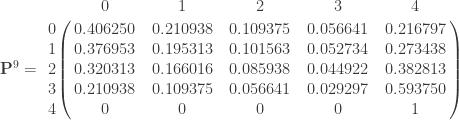 \mathbf{P}^9 =       \bordermatrix{ & 0 & 1 & 2 & 3 & 4 \cr        0 & 0.406250 & 0.210938 & 0.109375  & 0.056641 & 0.216797  \cr        1 & 0.376953 & 0.195313 & 0.101563  & 0.052734 & 0.273438  \cr        2 & 0.320313 & 0.166016 & 0.085938  & 0.044922 & 0.382813  \cr        3 & 0.210938 & 0.109375 & 0.056641  & 0.029297 & 0.593750  \cr        4 & 0 & 0 & 0  & 0 & 1  \cr           } \qquad