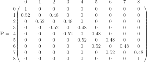 \mathbf{P} =       \bordermatrix{ & 0 & 1 & 2 & 3 & 4 & 5 & 6 & 7 & 8 \cr        0 & 1 & 0 & 0  & 0 & 0 & 0 & 0 & 0 & 0 \cr        1 & 0.52 & 0 & 0.48  & 0 & 0 & 0 & 0 & 0 & 0 \cr        2 & 0 & 0.52 & 0  & 0.48 & 0 & 0 & 0 & 0 & 0 \cr        3 & 0 & 0 & 0.52  & 0 & 0.48 & 0 & 0 & 0 & 0 \cr        4 & 0 & 0 & 0  & 0.52 & 0 & 0.48 & 0 & 0 & 0 \cr        5 & 0 & 0 & 0  & 0 & 0.52 & 0 & 0.48 & 0 & 0 \cr        6 & 0 & 0 & 0  & 0 & 0 & 0.52 & 0 & 0.48 & 0 \cr        7 & 0 & 0 & 0  & 0 & 0 & 0 & 0.52 & 0 & 0.48 \cr        8 & 0 & 0 & 0  & 0 & 0 & 0 & 0 & 0 & 1 \cr   } \qquad