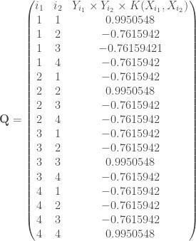 \mathbf{Q} = \begin{pmatrix} i_1 & i_2 & Y_{i_1} \times Y_{i_2} \times K(X_{i_1}, X_{i_2}) \\ 1 & 1 & 0.9950548 \\ 1 & 2 & -0.7615942 \\ 1 & 3 & -0.76159421 \\ 1 & 4 & -0.7615942 \\ 2 & 1 & -0.7615942 \\ 2 & 2 & 0.9950548 \\ 2 & 3 & -0.7615942 \\ 2 & 4 & -0.7615942 \\ 3 & 1 & -0.7615942 \\ 3 & 2 & -0.7615942 \\ 3 & 3 & 0.9950548 \\ 3 & 4 & -0.7615942 \\ 4 & 1 & -0.7615942 \\ 4 & 2 & -0.7615942 \\ 4 & 3 & -0.7615942 \\ 4 & 4 & 0.9950548 \\ \end{pmatrix}