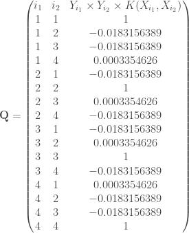 \mathbf{Q} = \begin{pmatrix} i_1 & i_2 & Y_{i_1} \times Y_{i_2} \times K(X_{i_1}, X_{i_2}) \\ 1 & 1 & 1 \\ 1 & 2 & -0.0183156389 \\ 1 & 3 & -0.0183156389 \\ 1 & 4 & 0.0003354626 \\ 2 & 1 &-0.0183156389 \\ 2 & 2 & 1 \\ 2 & 3 & 0.0003354626 \\ 2 & 4 &-0.0183156389 \\ 3 & 1 &-0.0183156389 \\ 3 & 2 & 0.0003354626 \\ 3 & 3 & 1 \\ 3 & 4 &-0.0183156389 \\ 4 & 1 & 0.0003354626 \\ 4 & 2 &-0.0183156389 \\ 4 & 3 &-0.0183156389 \\ 4 & 4 & 1 \\ \end{pmatrix}