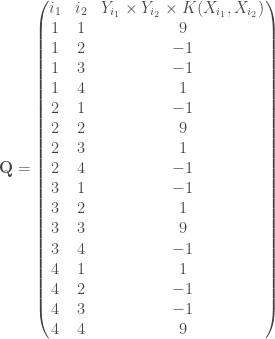 \mathbf{Q} = \begin{pmatrix} i_1 & i_2 & Y_{i_1} \times Y_{i_2} \times K(X_{i_1}, X_{i_2}) \\ 1 & 1 & 9 \\ 1 & 2 & -1 \\ 1 & 3 & -1 \\ 1 & 4 & 1 \\ 2 & 1 & -1 \\ 2 & 2 & 9 \\ 2 & 3 & 1 \\ 2 & 4 & -1 \\ 3 & 1 & -1 \\ 3 & 2 & 1 \\ 3 & 3 & 9 \\ 3 & 4 & -1 \\ 4 & 1 & 1 \\ 4 & 2 & -1 \\ 4 & 3 & -1 \\ 4 & 4 & 9 \\ \end{pmatrix}