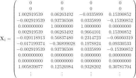 \mathbf{X}_1 = \begin{pmatrix} 0 & 0 & 0 & 0 \\ 0 & 0 & 0 & 0 \\ 1.002919539 & 0.06263492 & -0.0335899 & 0.15390852 \\ -0.002919539 & 0.93736508 & 0.0335899 & -0.15390852 \\ 0.000000000 & 1.00000000 & 1.0000000 & 0.00000000 \\ 0.002919539 & 0.06263492 & 0.9664101 & 0.15390852 \\ -0.020118913 & 0.56837480 & 0.2314723 & -0.06060319 \\ -0.017199374 & -0.36899028 & 0.1978824 & 0.09330533 \\ -0.002919539 & 0.93736508 & 0.0335899 & -0.15390852 \\ 0.000000000 & 0.00000000 & 0.0000000 & 0.00000000 \\ 0.000000000 & 0.00000000 & 0.0000000 & 0.00000000 \\ 1.005839077 & 0.12526984 & 0.9328202 & 0.30781704 \\ \vdots & \vdots & \vdots & \vdots \end{pmatrix}