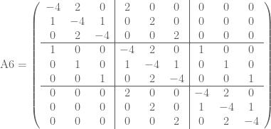 \text{A6}=\left(  \begin{array}{ccc ccc ccc}  -4 & 2 & 0 & 2 & 0 & 0 & 0 & 0 & 0 \\  1 & -4 & 1 & 0 & 2 & 0 & 0 & 0 & 0 \\  0 & 2 & -4 & 0 & 0 & 2 & 0 & 0 & 0 \\ \hline  1 & 0 & 0 & -4 & 2 & 0 & 1 & 0 & 0 \\  0 & 1 & 0 & 1 & -4 & 1 & 0 & 1 & 0 \\  0 & 0 & 1 & 0 & 2 & -4 & 0 & 0 & 1 \\ \hline  0 & 0 & 0 & 2 & 0 & 0 & -4 & 2 & 0 \\  0 & 0 & 0 & 0 & 2 & 0 & 1 & -4 & 1 \\  0 & 0 & 0 & 0 & 0 & 2 & 0 & 2 & -4  \end{array}  \right)