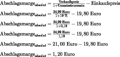 Marge Berechnen Formel