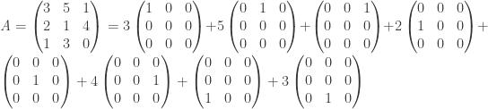 \textit{A}=\begin{pmatrix} 3 & 5 & 1 \\ 2 & 1 & 4 \\ 1 & 3 & 0 \end{pmatrix}=3 \begin{pmatrix} 1 & 0 & 0 \\ 0 & 0 & 0 \\ 0 & 0 & 0 \end{pmatrix}+ 5\begin{pmatrix} 0 & 1 & 0 \\ 0 & 0 & 0 \\ 0 & 0 & 0 \end{pmatrix}+\begin{pmatrix} 0 & 0 & 1 \\ 0 & 0 & 0 \\ 0 & 0 & 0 \end{pmatrix}+2\begin{pmatrix} 0 & 0 & 0 \\ 1 & 0 & 0 \\ 0 & 0 & 0 \end{pmatrix}+\begin{pmatrix} 0 & 0 & 0 \\ 0 & 1 & 0 \\ 0 & 0 & 0 \end{pmatrix}+4\begin{pmatrix} 0 & 0 & 0 \\ 0 & 0 & 1 \\ 0 & 0 & 0 \end{pmatrix}+\begin{pmatrix} 0 & 0 & 0 \\ 0 & 0 & 0 \\ 1 & 0 & 0 \end{pmatrix}+3\begin{pmatrix} 0 & 0 & 0 \\ 0 & 0 & 0 \\ 0 & 1 & 0 \end{pmatrix}