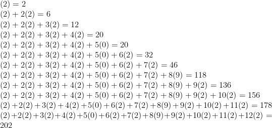 (2) = 2\\  (2)+2(2) = 6\\  (2)+2(2)+3(2) = 12\\  (2)+2(2)+3(2)+4(2)=20\\  (2)+2(2)+3(2)+4(2)+5(0)=20\\  (2)+2(2)+3(2)+4(2)+5(0)+6(2)=32\\  (2)+2(2)+3(2)+4(2)+5(0)+6(2)+7(2)=46\\  (2)+2(2)+3(2)+4(2)+5(0)+6(2)+7(2)+8(9)=118\\  (2)+2(2)+3(2)+4(2)+5(0)+6(2)+7(2)+8(9)+9(2)=136\\  (2)+2(2)+3(2)+4(2)+5(0)+6(2)+7(2)+8(9)+9(2)+10(2)=156\\  (2)+2(2)+3(2)+4(2)+5(0)+6(2)+7(2)+8(9)+9(2)+10(2)+11(2)=178\\  (2)+2(2)+3(2)+4(2)+5(0)+6(2)+7(2)+8(9)+9(2)+10(2)+11(2)+12(2)=202\\