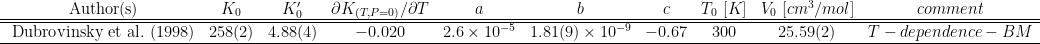\begin{array}{cccccccccccc}  {\rm\ Author(s) } & K_0 & K'_0 & \partial K_{(T,P=0)}/ \partial T & a & b & c &T_0\ [K]& V_0\ [cm^3/mol]& comment \\  \hline\hline  {\rm\ Dubrovinsky\ et\ al.\ (1998)} &258(2) &4.88(4) &-0.020 & 2.6\times10^{-5} & 1.81(9)\times10^{-9} & -0.67 &300 & 25.59(2) & T-dependence-BM \\  \hline  \end{array}\\