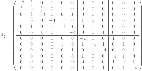 A_2 = \left(  \begin{array}{ccc|ccc|ccc|ccc}  -2 & \frac{1}{2} & 0 & 1 & 0 & 0 & 0 & 0 & 0 & 0 & 0 & 0 \  \frac{1}{2} & -2 & \frac{1}{2} & 0 & 1 & 0 & 0 & 0 & 0 & 0 & 0 & 0 \  0 & \frac{1}{2} & -2 & 0 & 0 & 1 & 0 & 0 & 0 & 0 & 0 & 0 \ \hline  1 & 0 & 0 & -4 & 1 & 0 & 1 & 0 & 0 & 0 & 0 & 0 \  0 & 1 & 0 & 1 & -4 & 1 & 0 & 1 & 0 & 0 & 0 & 0 \  0 & 0 & 1 & 0 & 1 & -4 & 0 & 0 & 1 & 0 & 0 & 0 \ \hline  0 & 0 & 0 & 1 & 0 & 0 & -4 & 1 & 0 & 1 & 0 & 0 \  0 & 0 & 0 & 0 & 1 & 0 & 1 & -4 & 1 & 0 & 1 & 0 \  0 & 0 & 0 & 0 & 0 & 1 & 0 & 1 & -4 & 0 & 0 & 1 \ \hline  0 & 0 & 0 & 0 & 0 & 0 & 1 & 0 & 0 & -4 & 1 & 0 \  0 & 0 & 0 & 0 & 0 & 0 & 0 & 1 & 0 & 1 & -4 & 1 \  0 & 0 & 0 & 0 & 0 & 0 & 0 & 0 & 1 & 0 & 1 & -4  \end{array}  \right)
