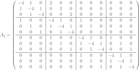 A_2 = \left(  \begin{array}{ccc|ccc|ccc|ccc}  -4 & 1 & 0 & 2 & 0 & 0 & 0 & 0 & 0 & 0 & 0 & 0 \  1 & -4 & 1 & 0 & 2 & 0 & 0 & 0 & 0 & 0 & 0 & 0 \  0 & 1 & -4 & 0 & 0 & 2 & 0 & 0 & 0 & 0 & 0 & 0 \ \hline  1 & 0 & 0 & -4 & 1 & 0 & 1 & 0 & 0 & 0 & 0 & 0 \  0 & 1 & 0 & 1 & -4 & 1 & 0 & 1 & 0 & 0 & 0 & 0 \  0 & 0 & 1 & 0 & 1 & -4 & 0 & 0 & 1 & 0 & 0 & 0 \ \hline  0 & 0 & 0 & 1 & 0 & 0 & -4 & 1 & 0 & 1 & 0 & 0 \  0 & 0 & 0 & 0 & 1 & 0 & 1 & -4 & 1 & 0 & 1 & 0 \  0 & 0 & 0 & 0 & 0 & 1 & 0 & 1 & -4 & 0 & 0 & 1 \ \hline  0 & 0 & 0 & 0 & 0 & 0 & 1 & 0 & 0 & -4 & 1 & 0 \  0 & 0 & 0 & 0 & 0 & 0 & 0 & 1 & 0 & 1 & -4 & 1 \  0 & 0 & 0 & 0 & 0 & 0 & 0 & 0 & 1 & 0 & 1 & -4  \end{array}  \right)