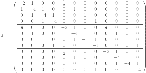 A_3 = \left(  \begin{array}{cccc|cccc|cccc}  -2 & 1 & 0 & 0 & \frac{1}{2} & 0 & 0 & 0 & 0 & 0 & 0 & 0 \\  1 & -4 & 1 & 0 & 0 & 1 & 0 & 0 & 0 & 0 & 0 & 0 \\  0 & 1 & -4 & 1 & 0 & 0 & 1 & 0 & 0 & 0 & 0 & 0 \\  0 & 0 & 1 & -4 & 0 & 0 & 0 & 1 & 0 & 0 & 0 & 0 \\ \hline  \frac{1}{2} & 0 & 0 & 0 & -2 & 1 & 0 & 0 & \frac{1}{2} & 0 & 0 & 0 \\  0 & 1 & 0 & 0 & 1 & -4 & 1 & 0 & 0 & 1 & 0 & 0 \\  0 & 0 & 1 & 0 & 0 & 1 & -4 & 1 & 0 & 0 & 1 & 0 \\  0 & 0 & 0 & 1 & 0 & 0 & 1 & -4 & 0 & 0 & 0 & 1 \\ \hline  0 & 0 & 0 & 0 & \frac{1}{2} & 0 & 0 & 0 & -2 & 1 & 0 & 0 \\  0 & 0 & 0 & 0 & 0 & 1 & 0 & 0 & 1 & -4 & 1 & 0 \\  0 & 0 & 0 & 0 & 0 & 0 & 1 & 0 & 0 & 1 & -4 & 1 \\  0 & 0 & 0 & 0 & 0 & 0 & 0 & 1 & 0 & 0 & 1 & -4  \end{array}  \right)