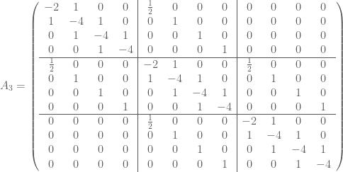 A_3 = \left(  \begin{array}{cccc cccc cccc}  -2 & 1 & 0 & 0 & \frac{1}{2} & 0 & 0 & 0 & 0 & 0 & 0 & 0 \\  1 & -4 & 1 & 0 & 0 & 1 & 0 & 0 & 0 & 0 & 0 & 0 \\  0 & 1 & -4 & 1 & 0 & 0 & 1 & 0 & 0 & 0 & 0 & 0 \\  0 & 0 & 1 & -4 & 0 & 0 & 0 & 1 & 0 & 0 & 0 & 0 \\ \hline  \frac{1}{2} & 0 & 0 & 0 & -2 & 1 & 0 & 0 & \frac{1}{2} & 0 & 0 & 0 \\  0 & 1 & 0 & 0 & 1 & -4 & 1 & 0 & 0 & 1 & 0 & 0 \\  0 & 0 & 1 & 0 & 0 & 1 & -4 & 1 & 0 & 0 & 1 & 0 \\  0 & 0 & 0 & 1 & 0 & 0 & 1 & -4 & 0 & 0 & 0 & 1 \\ \hline  0 & 0 & 0 & 0 & \frac{1}{2} & 0 & 0 & 0 & -2 & 1 & 0 & 0 \\  0 & 0 & 0 & 0 & 0 & 1 & 0 & 0 & 1 & -4 & 1 & 0 \\  0 & 0 & 0 & 0 & 0 & 0 & 1 & 0 & 0 & 1 & -4 & 1 \\  0 & 0 & 0 & 0 & 0 & 0 & 0 & 1 & 0 & 0 & 1 & -4  \end{array}  \right)