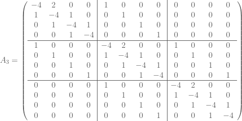 A_3 = \left(  \begin{array}{cccc|cccc|cccc}  -4 & 2 & 0 & 0 & 1 & 0 & 0 & 0 & 0 & 0 & 0 & 0 \\  1 & -4 & 1 & 0 & 0 & 1 & 0 & 0 & 0 & 0 & 0 & 0 \\  0 & 1 & -4 & 1 & 0 & 0 & 1 & 0 & 0 & 0 & 0 & 0 \\  0 & 0 & 1 & -4 & 0 & 0 & 0 & 1 & 0 & 0 & 0 & 0 \\ \hline  1 & 0 & 0 & 0 & -4 & 2 & 0 & 0 & 1 & 0 & 0 & 0 \\  0 & 1 & 0 & 0 & 1 & -4 & 1 & 0 & 0 & 1 & 0 & 0 \\  0 & 0 & 1 & 0 & 0 & 1 & -4 & 1 & 0 & 0 & 1 & 0 \\  0 & 0 & 0 & 1 & 0 & 0 & 1 & -4 & 0 & 0 & 0 & 1 \\ \hline  0 & 0 & 0 & 0 & 1 & 0 & 0 & 0 & -4 & 2 & 0 & 0 \\  0 & 0 & 0 & 0 & 0 & 1 & 0 & 0 & 1 & -4 & 1 & 0 \\  0 & 0 & 0 & 0 & 0 & 0 & 1 & 0 & 0 & 1 & -4 & 1 \\  0 & 0 & 0 & 0 & 0 & 0 & 0 & 1 & 0 & 0 & 1 & -4  \end{array}  \right)