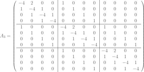 A_3 = \left(  \begin{array}{cccc cccc cccc}  -4 & 2 & 0 & 0 & 1 & 0 & 0 & 0 & 0 & 0 & 0 & 0 \\  1 & -4 & 1 & 0 & 0 & 1 & 0 & 0 & 0 & 0 & 0 & 0 \\  0 & 1 & -4 & 1 & 0 & 0 & 1 & 0 & 0 & 0 & 0 & 0 \\  0 & 0 & 1 & -4 & 0 & 0 & 0 & 1 & 0 & 0 & 0 & 0 \\ \hline  1 & 0 & 0 & 0 & -4 & 2 & 0 & 0 & 1 & 0 & 0 & 0 \\  0 & 1 & 0 & 0 & 1 & -4 & 1 & 0 & 0 & 1 & 0 & 0 \\  0 & 0 & 1 & 0 & 0 & 1 & -4 & 1 & 0 & 0 & 1 & 0 \\  0 & 0 & 0 & 1 & 0 & 0 & 1 & -4 & 0 & 0 & 0 & 1 \\ \hline  0 & 0 & 0 & 0 & 1 & 0 & 0 & 0 & -4 & 2 & 0 & 0 \\  0 & 0 & 0 & 0 & 0 & 1 & 0 & 0 & 1 & -4 & 1 & 0 \\  0 & 0 & 0 & 0 & 0 & 0 & 1 & 0 & 0 & 1 & -4 & 1 \\  0 & 0 & 0 & 0 & 0 & 0 & 0 & 1 & 0 & 0 & 1 & -4  \end{array}  \right)