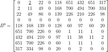 B^9=\begin{bmatrix}  0& \underline{2}& 22& 0& 118& 651& 432& 651& 317\\  2& 11& 49& 0& 168& 700& 494& 700& 334\\  22& 49& 86& 0& 139& 226& 210& 226& 98\\  0& 0& 0& 0& 0& 0& 0& 0& 0\\  118& 168& 139& 0& 128& 60& 97& 60& 20\\  651& 700& 226& 0& 60& 1& 11& 1& 0\\  432& 494& 210& 0& 97& 11& 38& 11& 2\\  651& 700& 226& 0& 60& 1& 11& 1& 0\\  317& 334& 98& 0& 20& 0& 2& 0& 0  \end{bmatrix}