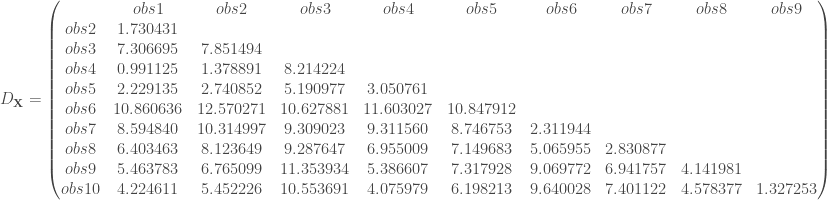 D_{\mathbf{X}}= \begin{pmatrix} & obs1 & obs2 & obs3 & obs4 & obs5 & obs6 & obs7 & obs8 & obs9 \\ obs2 & 1.730431 & & & & & & & & \\ obs3 & 7.306695 & 7.851494 & & & & & & & \\ obs4 & 0.991125 & 1.378891 & 8.214224 & & & & & & \\ obs5 & 2.229135 & 2.740852 & 5.190977 & 3.050761 & & & & & \\ obs6 & 10.860636 & 12.570271 & 10.627881 & 11.603027 & 10.847912 & & & & \\ obs7 & 8.594840 & 10.314997 & 9.309023 & 9.311560 & 8.746753 & 2.311944 & & & \\ obs8 & 6.403463 & 8.123649 & 9.287647 & 6.955009 & 7.149683 & 5.065955 & 2.830877 & & \\ obs9 & 5.463783 & 6.765099 & 11.353934 & 5.386607 & 7.317928 & 9.069772 & 6.941757 & 4.141981 & \\ obs10 & 4.224611 & 5.452226 & 10.553691 & 4.075979 & 6.198213 & 9.640028 & 7.401122 & 4.578377 & 1.327253 \\ \end{pmatrix}