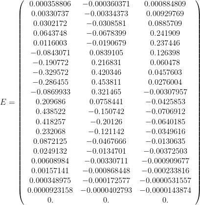 E = \left(\begin{array}{ccc} 0.000358806 & -0.000360371 & 0.000884809 \\ 0.00330737 & -0.00334373 & 0.00929769 \\ 0.0302172 & -0.0308581 & 0.0885709 \\ 0.0643748 & -0.0678399 & 0.241909 \\ 0.0116003 & -0.0190679 & 0.237446 \\ -0.0843071 & 0.0839105 & 0.126398 \\ -0.190772 & 0.216831 & 0.060478 \\ -0.329572 & 0.420346 & 0.0457603 \\ -0.286455 & 0.453811 & 0.0276004 \\ -0.0869933 & 0.321465 & -0.00307957 \\ 0.209686 & 0.0758441 & -0.0425853 \\ 0.438522 & -0.150742 & -0.0706912 \\ 0.418257 & -0.20126 & -0.0640185 \\ 0.232068 & -0.121142 & -0.0349616 \\ 0.0872125 & -0.0467666 & -0.0130635 \\ 0.0249132 & -0.0134701 & -0.00372503 \\ 0.00608984 & -0.00330711 & -0.000909677 \\ 0.00157141 & -0.000868448 & -0.000233816 \\ 0.000348975 & -0.000172577 & -0.0000531557 \\ 0.0000923158 & -0.0000402793 & -0.0000143874 \\ 0. & 0. & 0.\end{array}\right)
