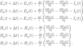 E_x(t + \Delta t) = E_x(t) + \frac{\Delta t}{\epsilon}\left(\frac{\partial H_z(t)}{\partial y} - \frac{\partial H_y(t)}{\partial z} - I_x(t)\right) \\  E_y(t + \Delta t) = E_y(t) + \frac{\Delta t}{\epsilon}\left(\frac{\partial H_z(t)}{\partial x} - \frac{\partial H_x(t)}{\partial z} - I_y(t)\right) \\  E_z(t + \Delta t) = E_z(t) + \frac{\Delta t}{\epsilon}\left(\frac{\partial H_y(t)}{\partial x} - \frac{\partial H_x(t)}{\partial y} - I_z(t)\right) \\  \\  H_x(t + \Delta t) = H_x(t) - \frac{\Delta t}{\mu}\left(\frac{\partial E_z(t)}{\partial y} - \frac{\partial E_y(t)}{\partial z}\right) \\  H_y(t + \Delta t) = H_y(t) - \frac{\Delta t}{\mu}\left(\frac{\partial E_z(t)}{\partial x} - \frac{\partial E_x(t)}{\partial z}\right) \\  H_z(t + \Delta t) = H_z(t) - \frac{\Delta t}{\mu}\left(\frac{\partial E_y(t)}{\partial x} - \frac{\partial E_x(t)}{\partial y}\right).