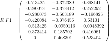 R\ F1 = \left(\begin{array}{ccc} 0.513425 & -0.372389 & 0.398141 \\ 0.280073 & -0.373412 & 0.252292 \\ -0.280073 & -0.563189 & -0.196825 \\ -0.420084 & -0.376455 & 0.53131 \\ -0.513425 & -0.0959116 & -0.0948392 \\ -0.373414 & 0.185702 & 0.416961 \\ 0. & 0.468301 & 0.523404\end{array}\right)