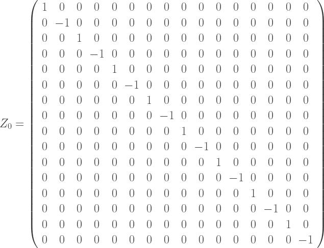Z_0=\left(\begin{array}{cccccccccccccccc}  1 & 0 & 0 & 0 & 0 & 0 & 0 & 0 & 0 & 0 & 0 & 0 & 0 & 0 & 0 & 0\\  0 & -1 & 0 & 0 & 0 & 0 & 0 & 0 & 0 & 0 & 0 & 0 & 0 & 0 & 0 & 0\\  0 & 0 & 1 & 0 & 0 & 0 & 0 & 0 & 0 & 0 & 0 & 0 & 0 & 0 & 0 & 0\\  0 & 0 & 0 & -1 & 0 & 0 & 0 & 0 & 0 & 0 & 0 & 0 & 0 & 0 & 0 & 0\\  0 & 0 & 0 & 0 & 1 & 0 & 0 & 0 & 0 & 0 & 0 & 0 & 0 & 0 & 0 & 0\\  0 & 0 & 0 & 0 & 0 & -1 & 0 & 0 & 0 & 0 & 0 & 0 & 0 & 0 & 0 & 0\\  0 & 0 & 0 & 0 & 0 & 0 & 1 & 0 & 0 & 0 & 0 & 0 & 0 & 0 & 0 & 0\\  0 & 0 & 0 & 0 & 0 & 0 & 0 & -1 & 0 & 0 & 0 & 0 & 0 & 0 & 0 & 0\\  0 & 0 & 0 & 0 & 0 & 0 & 0 & 0 & 1 & 0 & 0 & 0 & 0 & 0 & 0 & 0\\  0 & 0 & 0 & 0 & 0 & 0 & 0 & 0 & 0 & -1 & 0 & 0 & 0 & 0 & 0 & 0\\  0 & 0 & 0 & 0 & 0 & 0 & 0 & 0 & 0 & 0 & 1 & 0 & 0 & 0 & 0 & 0\\  0 & 0 & 0 & 0 & 0 & 0 & 0 & 0 & 0 & 0 & 0 & -1 & 0 & 0 & 0 & 0\\  0 & 0 & 0 & 0 & 0 & 0 & 0 & 0 & 0 & 0 & 0 & 0 & 1 & 0 & 0 & 0\\  0 & 0 & 0 & 0 & 0 & 0 & 0 & 0 & 0 & 0 & 0 & 0 & 0 & -1 & 0 & 0\\  0 & 0 & 0 & 0 & 0 & 0 & 0 & 0 & 0 & 0 & 0 & 0 & 0 & 0 & 1 & 0\\  0 & 0 & 0 & 0 & 0 & 0 & 0 & 0 & 0 & 0 & 0 & 0 & 0 & 0 & 0 & -1\\  \end{array}  \right)