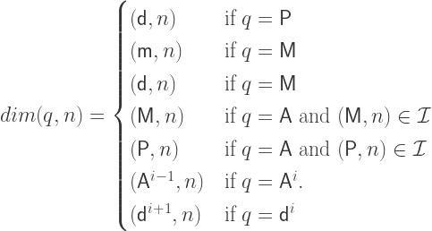 dim(q,n) = \begin{cases} (\mathsf{d},n) & \mbox{if } q = \mathsf{P} \\ (\mathsf{m},n) & \mbox{if } q = \mathsf{M} \\ (\mathsf{d},n) & \mbox{if } q = \mathsf{M} \\ (\mathsf{M},n) & \mbox{if } q = \mathsf{A} \mbox{ and } (\mathsf{M},n) \in \mathcal{I} \\ (\mathsf{P},n) & \mbox{if } q = \mathsf{A} \mbox{ and } (\mathsf{P},n) \in \mathcal{I} \\ (\mathsf{A}^{i-1},n) & \mbox{if } q = \mathsf{A}^i.\\ (\mathsf{d}^{i+1},n) & \mbox{if } q = \mathsf{d}^i \\ \end{cases}