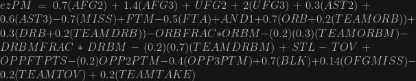 ezPM = 0.7(AFG2)+1.4(AFG3)+UFG2+2(UFG3)+0.3(AST2)+0.6(AST3)-0.7(MISS)+FTM-0.5(FTA)+AND1+0.7(ORB+0.2(TEAMORB))+0.3(DRB+0.2(TEAMDRB))-ORBFRAC*ORBM-(0.2)(0.3)(TEAMORBM)-DRBMFRAC*DRBM-(0.2)(0.7)(TEAMDRBM)+STL-TOV+OPPFTPTS-(0.2)OPP2PTM-0.4(OPP3PTM)+0.7(BLK)+0.14(OFGMISS)-0.2(TEAMTOV)+0.2(TEAMTAKE)