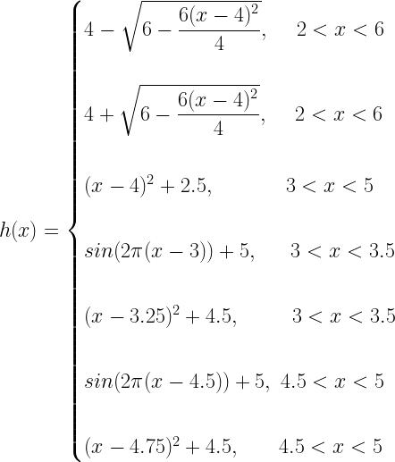 h(x)=\begin{cases} 4 -\sqrt{6-\dfrac{6(x-4)^2}{4}},~~~~2<x<6 \\*~\\*4 +\sqrt{6-\dfrac{6(x-4)^2}{4}},~~~~ 2<x<6\\*~\\*(x - 4)^2 + 2.5,~~~~~~~~~~~3<x<5\\*~\\* sin(2\pi (x - 3)) + 5,~~~~~ 3<x<3.5\\*~\\*(x - 3.25)^2 + 4.5,~~~~~~~~ 3<x<3.5\\*~\\* sin(2\pi (x - 4.5)) + 5,~4.5<x<5\\*~\\*(x - 4.75)^2 + 4.5,~~~~~~4.5<x<5\end{cases}