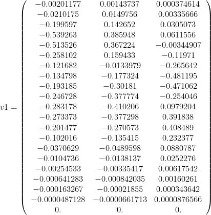 v1 = \left(\begin{array}{ccc} -0.00201177 & 0.00143737 & 0.000374614 \\ -0.0210175 & 0.0149756 & 0.00335666 \\ -0.199597 & 0.142652 & 0.0305073 \\ -0.539263 & 0.385948 & 0.0611556 \\ -0.513526 & 0.367224 & -0.00344907 \\ -0.258102 & 0.159433 & -0.11971 \\ -0.121682 & -0.0133979 & -0.265642 \\ -0.134798 & -0.177324 & -0.481195 \\ -0.193185 & -0.30181 & -0.471062 \\ -0.246728 & -0.377774 & -0.254046 \\ -0.283178 & -0.410206 & 0.0979204 \\ -0.273373 & -0.377298 & 0.391838 \\ -0.201477 & -0.270573 & 0.408489 \\ -0.102016 & -0.135415 & 0.232377 \\ -0.0370629 & -0.0489598 & 0.0880787 \\ -0.0104736 & -0.0138137 & 0.0252276 \\ -0.00254533 & -0.00335417 & 0.00617542 \\ -0.000641283 & -0.000842035 & 0.00160261 \\ -0.000163267 & -0.00021855 & 0.000343642 \\ -0.0000487128 & -0.0000661713 & 0.0000876566 \\ 0. & 0. & 0.\end{array}\right)