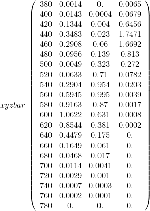 xyz bar ~ \left(\begin{array}{cccc} 380 & 0.0014 & 0. & 0.0065 \\ 400 & 0.0143 & 0.0004 & 0.0679 \\ 420 & 0.1344 & 0.004 & 0.6456 \\ 440 & 0.3483 & 0.023 & 1.7471 \\ 460 & 0.2908 & 0.06 & 1.6692 \\ 480 & 0.0956 & 0.139 & 0.813 \\ 500 & 0.0049 & 0.323 & 0.272 \\ 520 & 0.0633 & 0.71 & 0.0782 \\ 540 & 0.2904 & 0.954 & 0.0203 \\ 560 & 0.5945 & 0.995 & 0.0039 \\ 580 & 0.9163 & 0.87 & 0.0017 \\ 600 & 1.0622 & 0.631 & 0.0008 \\ 620 & 0.8544 & 0.381 & 0.0002 \\ 640 & 0.4479 & 0.175 & 0. \\ 660 & 0.1649 & 0.061 & 0. \\ 680 & 0.0468 & 0.017 & 0. \\ 700 & 0.0114 & 0.0041 & 0. \\ 720 & 0.0029 & 0.001 & 0. \\ 740 & 0.0007 & 0.0003 & 0. \\ 760 & 0.0002 & 0.0001 & 0. \\ 780 & 0. & 0. & 0.\end{array}\right)