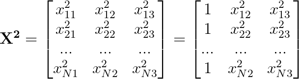 \mathbf{X^2} = \begin{bmatrix}      x^2_{11} & x^2_{12} & x^2_{13}\\      x^2_{21} & x^2_{22} & x^2_{23}\\      ... & ... & ...\\      x^2_{N1} & x^2_{N2} & x^2_{N3}  \end{bmatrix} = \begin{bmatrix}      1 & x^2_{12} & x^2_{13}\\      1 & x^2_{22} & x^2_{23}\\      ... & ... & ...\\      1 & x^2_{N2} & x^2_{N3}  \end{bmatrix}