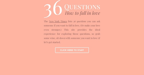 36 questions to make you fall in love