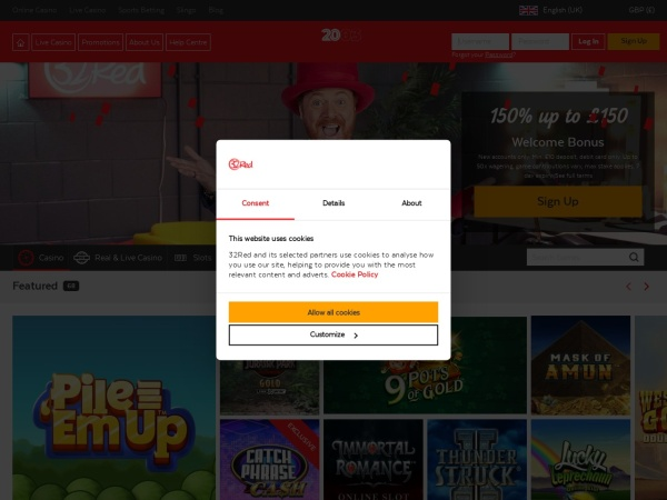 Screenshot of 32red.com