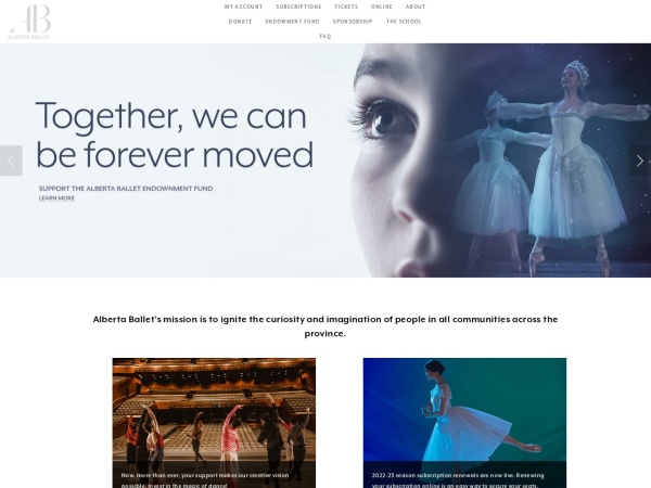 Screenshot of albertaballet.com