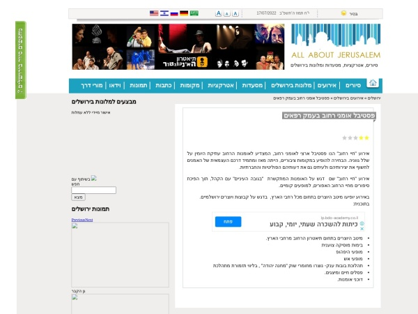 Screenshot of allaboutjerusalem.com