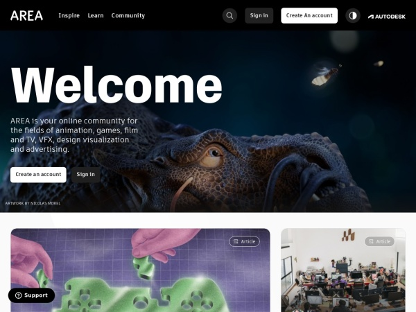 Screenshot of area.autodesk.com
