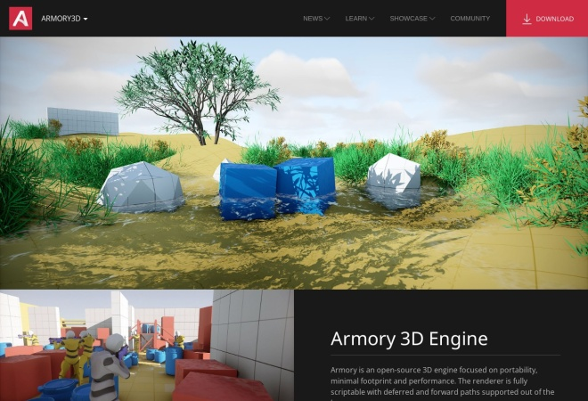 Screenshot of armory3d.org