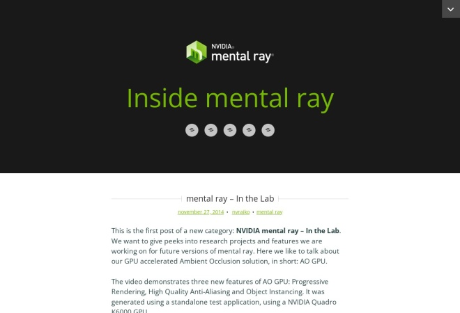 Screenshot of blog.mentalray.com