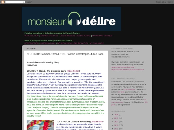 Screenshot of blog.monsieurdelire.com