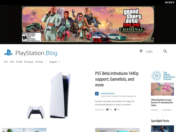 Screenshot of blog.us.playstation.com