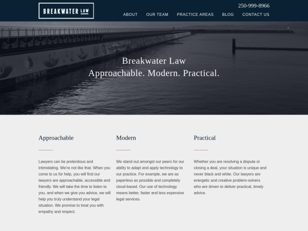 Screenshot of breakwaterlaw.ca