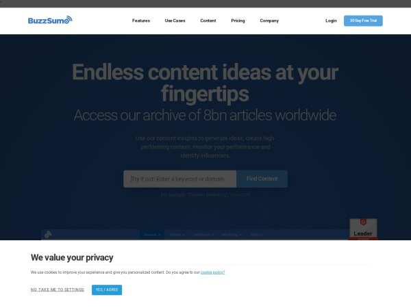 Screenshot of buzzsumo.com