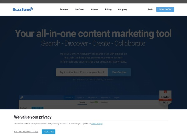 Screenshot von buzzsumo.com