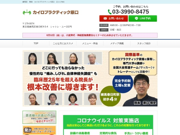 Screenshot of chiro-haraguchi.com