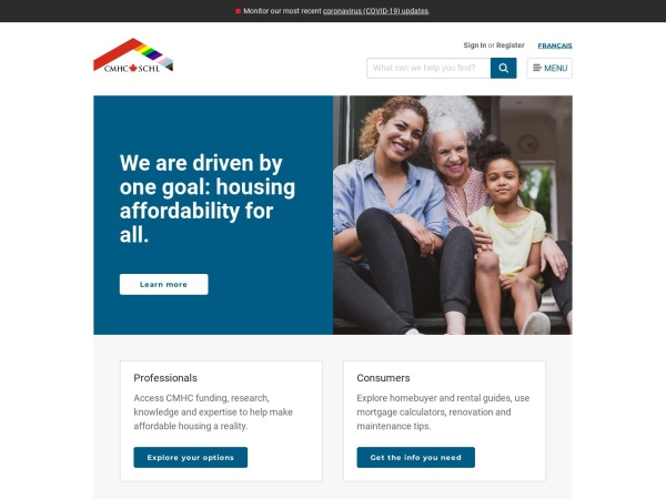 Screenshot of cmhc.ca