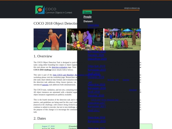 Screenshot of cocodataset.org