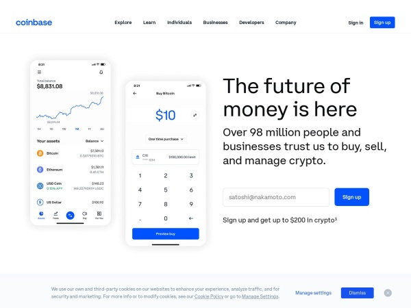 Screenshot of coinbase.com