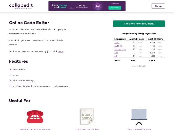 Screenshot of collabedit.com